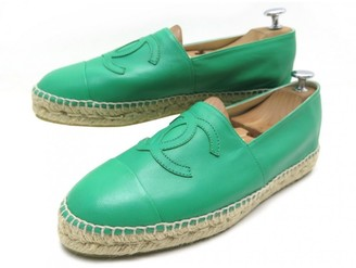 Chanel Green Leather Espadrilles