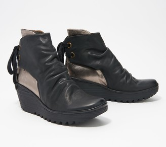 Fly London Leather Lace-Up Booties - Yama