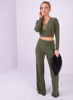 Missy Empire Lora Khaki Criss Cross Detail Slinky Co-ord