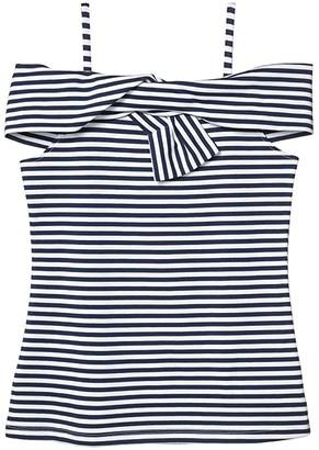 Habitual Kyra Stripe Twist Top (Big Kids) (Navy) Girl's Clothing