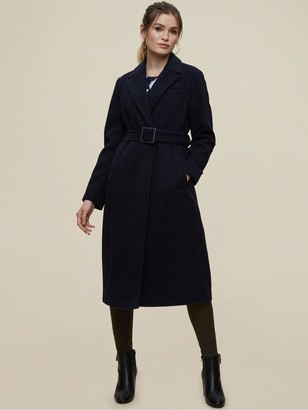 Dorothy Perkins Belted Wrap Coat - Navy