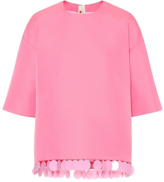 Marni Sequin-trimmed crepe top