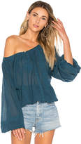 Star Mela Mirella Embroidered Top in Teal. - size L (also in M,S)