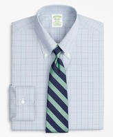 Brooks Brothers Stretch Milano Slim-Fit Dress Shirt, Non-Iron Pinpoint Button-Down Collar Glen Plaid