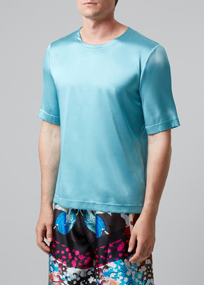 Meng MENG Men S Light Blue Stretchy Silk Satin T-shirt