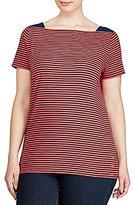 Lauren Ralph Lauren Plus Striped Cotton Boat neck Tee