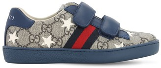 Gucci Star Print Canvas & Leather Sneakers