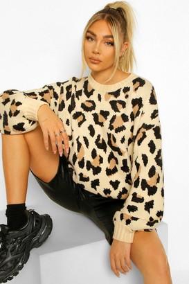 boohoo Leopard Print Knitted Jumper