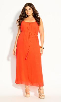 City Chic Paradise Maxi Dress - flame