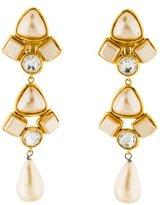 Chanel Faux Pearl & Crystal Drop Earrings