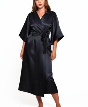 iCollection Women's Luxury Long Robe with Kimono Style Sleeves