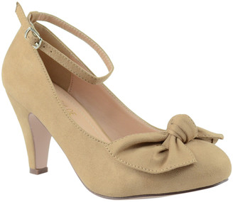 Chase & Chloe Women's Pumps NUDE - Nude Bow Kimmy Ankle-Strap Pump - Women