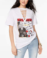 Freeze 24-7 Juniors' Marilyn Monroe Lace-Up Graphic T-Shirt
