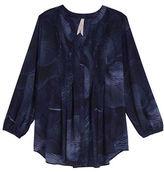 Melissa McCarthy Plus Long Sleeve Split Neck Floral Printed Blouse