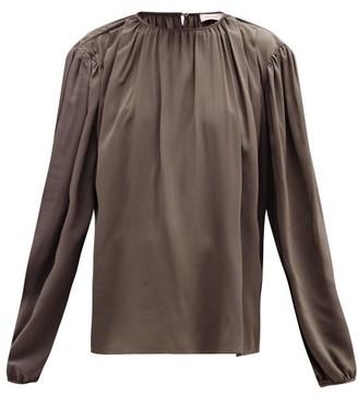 Lemaire Draped Silk-crepe Blouse - Womens - Dark Grey