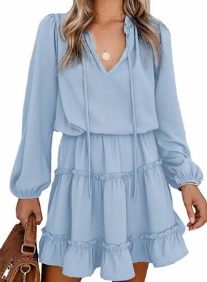 CORAFRITZ Women's Long Sleeve Casual Tunic Dress Ruffle Solid Color Mini Dress Drawstring V Neck Flowy Dress Sky Blue