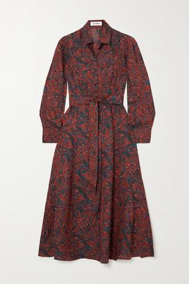 Cefinn Millie Belted Printed Twill Shirt Dress - Red