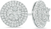Zales 1 CT. T.W. Composite Diamond Frame Stud Earrings in 10K White Gold