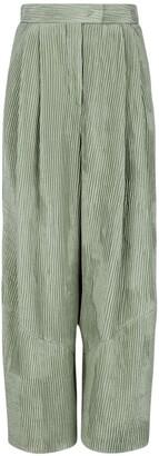 Giorgio Armani Plisse Effect Silk Satin Wide Leg Pants