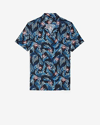 Express Slim Tropical Print Short Sleeve Rayon Shirt