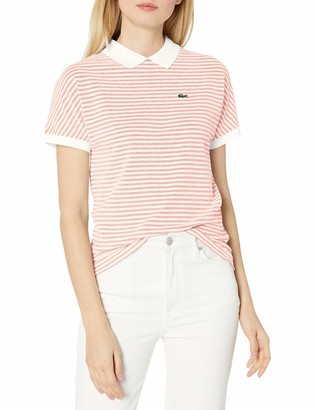 Lacoste Women's Short Sleeve Buttonless Striped Pique Polo Shirt
