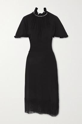 Paco Rabanne Fringed Bead-embellished Stretch-twill Midi Dress - Black