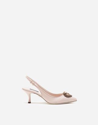 Dolce & Gabbana Matelasse Nappa Leather Devotion Slingbacks