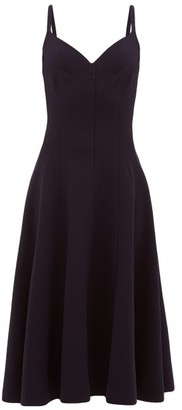 Norma Kamali Grace Raw-seam Panelled Midi Dress - Womens - Navy
