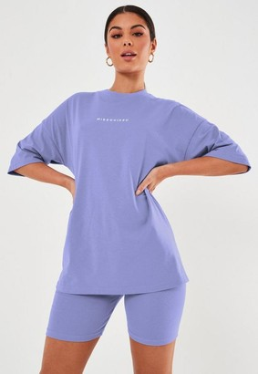 Missguided Blue Oversized T Shirt And Biker Short Co Ord Set