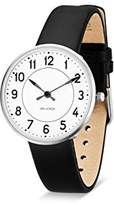 Arne Jacobsen Unisex Quartz Watch with White Dial Analogue Display and Black Leather Strap 53401