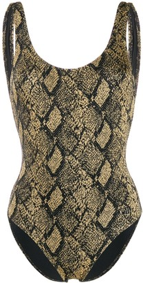 Solid & Striped Scoop Neck Snakeskin Print One-Piece