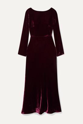 Saloni Tina Open-back Draped Velvet Midi Dress - Plum