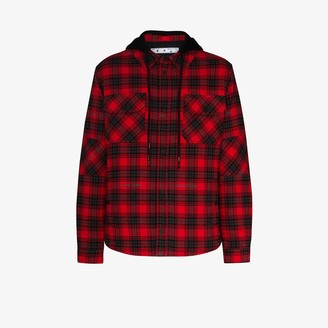 Off-White Hooded Checked Shirt Jacket