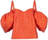 Rosie Assoulin oversized-sleeve cold shoulder top