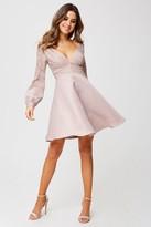 Little Mistress Sammie Mink Foiled Lace Skater Dress