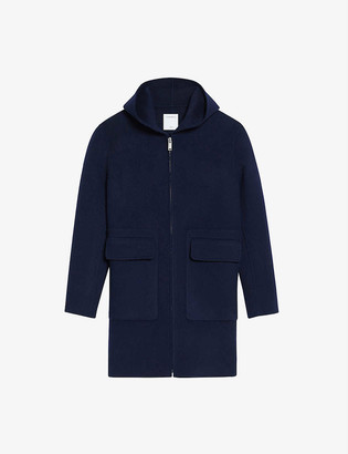 Sandro Hooded wool and cotton-blend coat