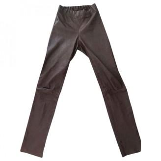 Joseph Burgundy Leather Trousers