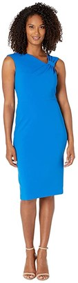 Calvin Klein Asymmetric Neck Sheath Dress (Cobalt) Women's Dress
