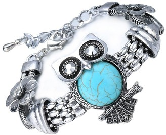 Semi-precious Faux Turquoise Vintage Statement Bracelet, Wise Owl, by JADA Collections