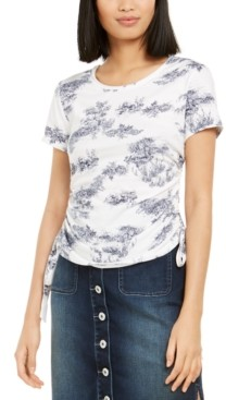 INC International Concepts Inc Petite Cotton Printed Tie-Hem Top, Created for Macy's