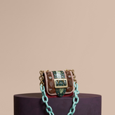 Burberry The Mini Square Buckle Bag in Velvet and Floral Print Snakeskin