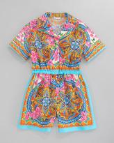 Dolce & Gabbana Printed Poplin Short Jumpsuit, Sizes 8-10