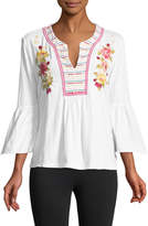 Johnny Was Tilly Flare-Sleeve Boho Tee