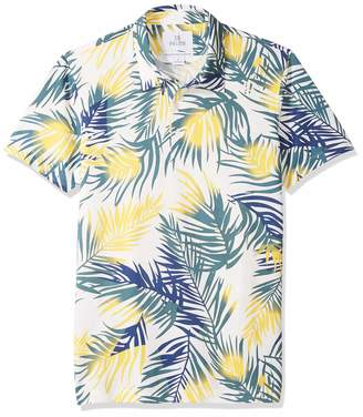 28 Palms Men's Standard-Fit Performance Cotton Tropical Print Pique Golf Polo Shirt