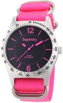 Superdry Women's 40mm Pink Cloth Band Steel Case Quartz Analog Watch Syl121p