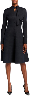 Rickie Freeman For Teri Jon Mock Tie-Neck Long-Sleeve Seamed Dress