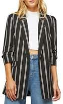 Miss Selfridge Striped Ruched-Sleeve Blazer