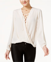 Lily Black Juniors' Lace-Up Faux-Wrap Top, Only at Macy's