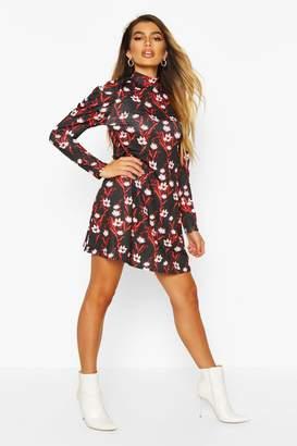boohoo Floral High Neck Puff Sleeve Swing Dress