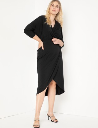 ELOQUII Sharp Shoulder Wrap Dress